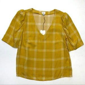A New Day Size S Yellow & White V-Neck Blouse
